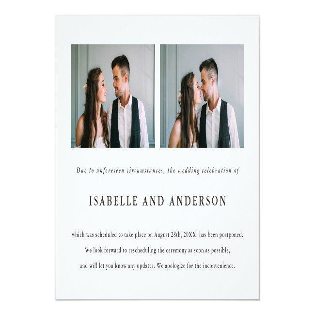 Two Photo Wedding Postponement Announcement Postcard