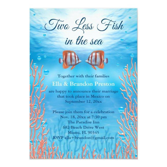 Underwater Two Less Fish In The Sea Post Wedding Invitation