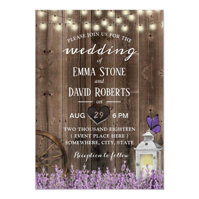 Vintage Lantern Lavender Floral Barn Wood Wedding Invitation