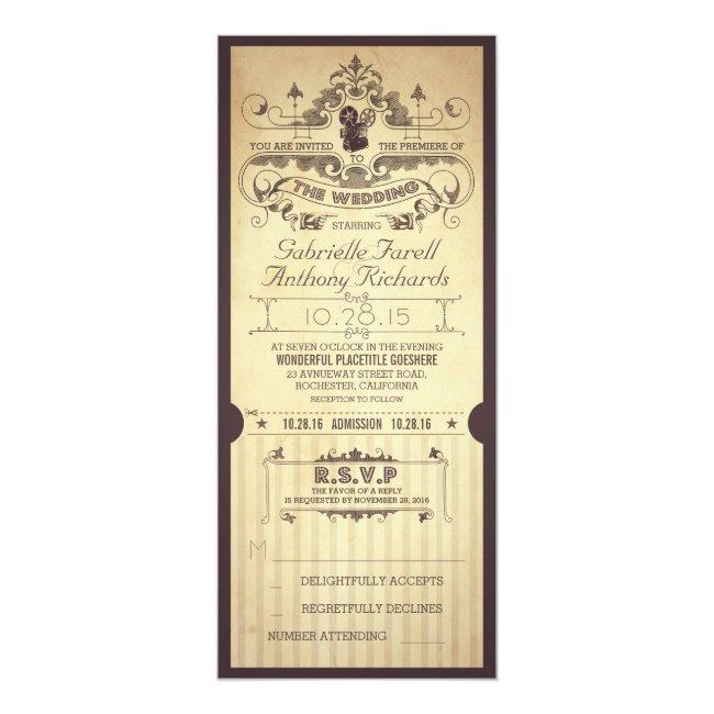Vintage Retro Movie Tickets Wedding Invitations