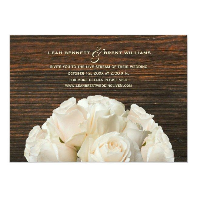 Virtual Live Stream Wedding Rustic White Roses Invitation