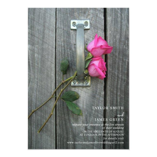 Virtual Streaming Wedding Rustic Pink Roses Invitation
