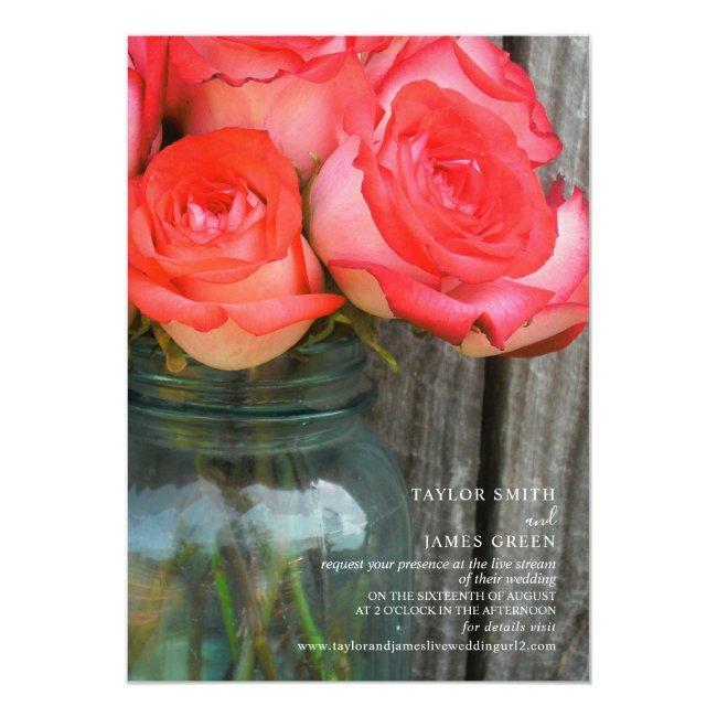 Virtual Streaming Wedding Rustic Roses Jar Invitation