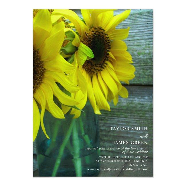 Virtual Streaming Wedding Rustic Sunflowers Invitation