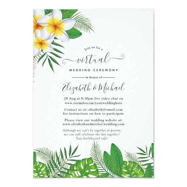 Watercolor Hawaiian Aloha Luau Virtual Wedding Invitation