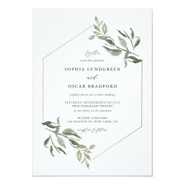 Watercolor Leaves Rose Gold Frame Wedding Invitation
