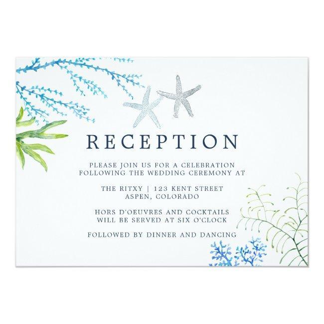 Watercolor Seaweed Beach Wedding Reception Invitation