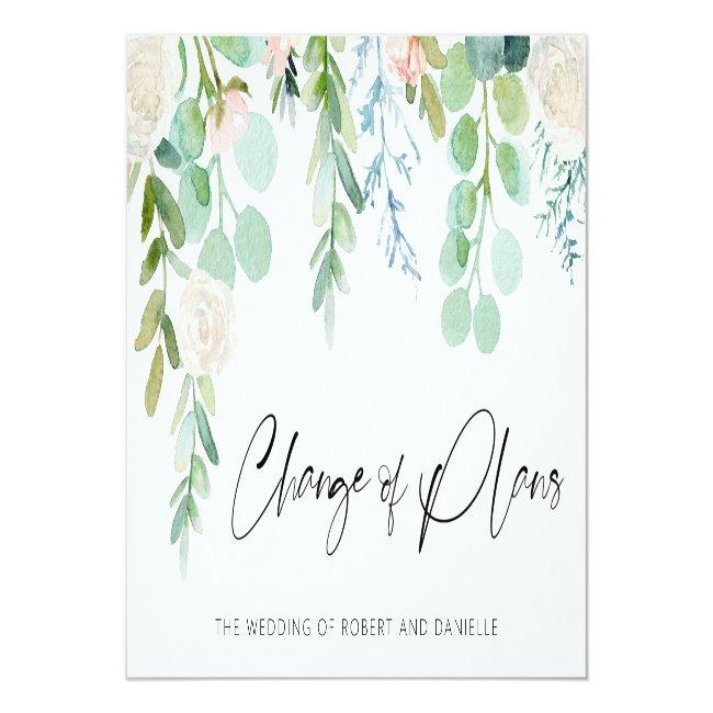 Wedding Change Of Plans Watercolor Floral Greenery Announcement Post
