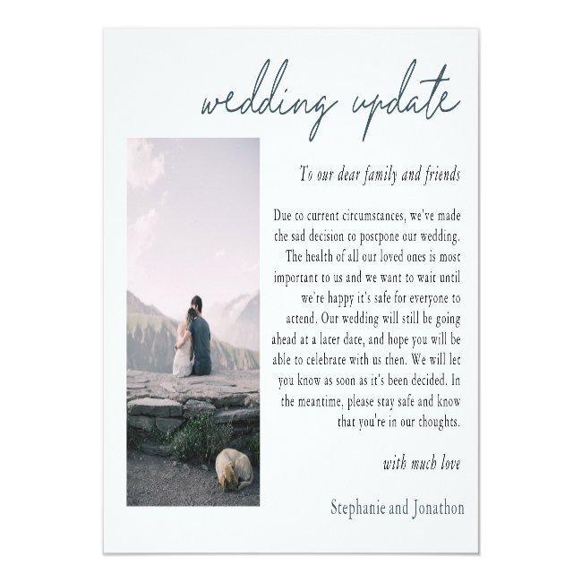 Wedding Postponement Photo Update Modern Script Announcement Postcard