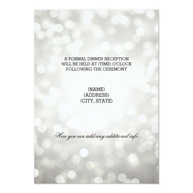 Wedding Reception Silver Glitter Lights Invitation