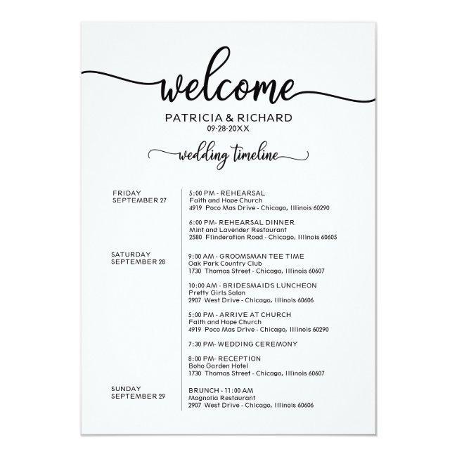 Weekend Wedding Schedule Elegant Calligraphy Invitation