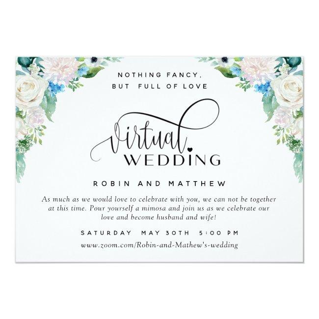White And Green Floral Online Virtual Wedding Invitation