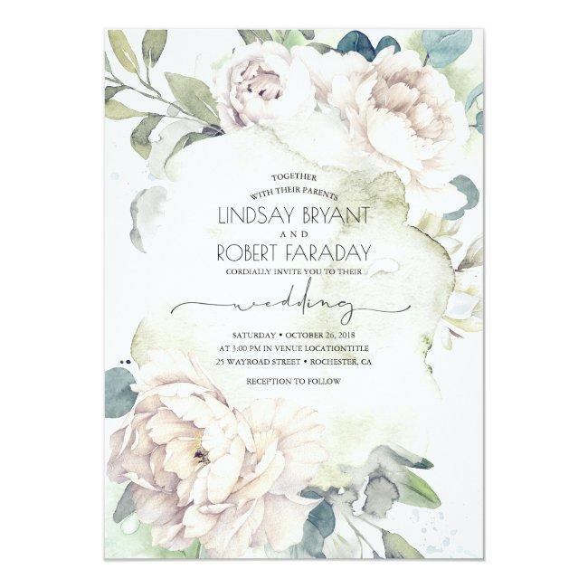 White Flowers And Greenery Elegant Vintage Wedding Invitation